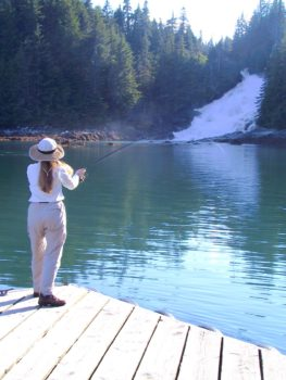 Lisa fishing at Baranof Warm Springs Bay.
